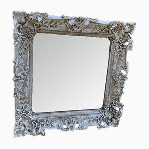 Espejo inglés antiguo grande de madera tallada y gesso