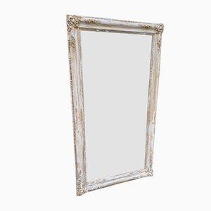 Espejo Louissope francés antiguo grande de madera tallada y gesso