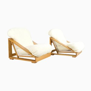 Italian Pine and Teddy Fur Lounge Chairs, 1970s, Set of 2