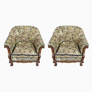 Antike Sessel aus geschnitztem Nussholz, 2er Set