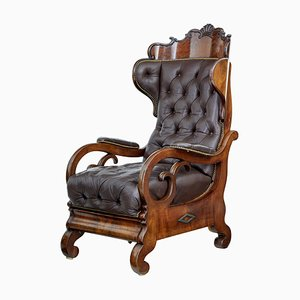 Antique French Mahogany and Leather Armchair