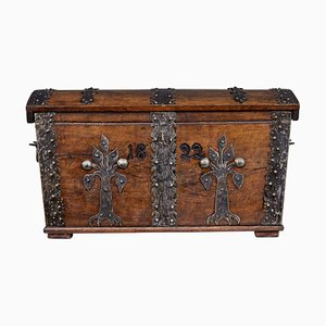 Antique Oak and Metal Trunk