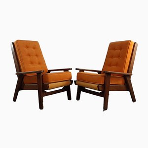 Mid-Century French Model FS108 Lounge Chairs by Pierre Guariche for Freespan, 1950s, Set of 2