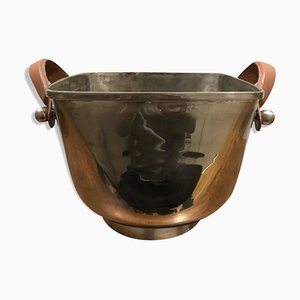 Vintage Silver Metal and Leather Bucket, 1970s
