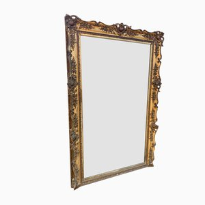 Large Antique French Gilded Carved Wood and Gesso Mirror