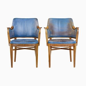 Antique Teak and Leather Armchairs, Set of 2