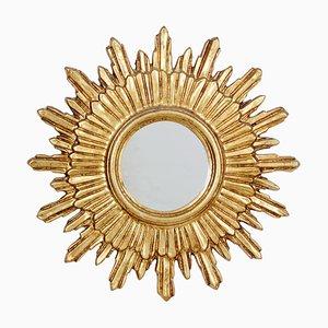 Espejos en forma de sol dorados, años 70. Juego de 2