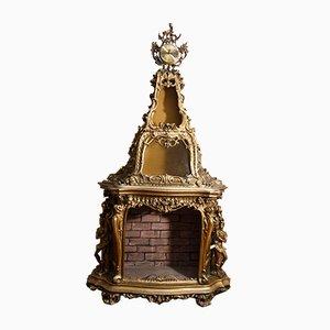Goldener künstlicher Kamin, 1950er