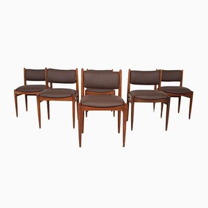 Teak and Leather Dining Chairs, 1950s, Set of 6