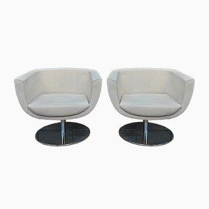 Sessel mit Stoffbezug & Gestell aus verchromtem Metall, 1970er, 2er Set