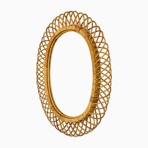Mid-Century Italian Wicker and Rattan Mirror by Franco Albini for Pierantonio Bonacina