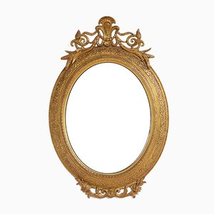Antique Giltwood Oval Wall Mirror