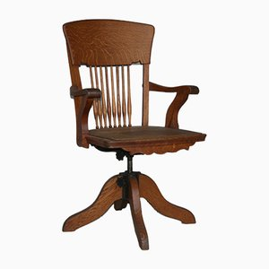 Antique American Oak and Cast Iron Swivel Chair