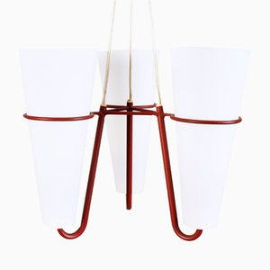 Mid-Century Glass and Metal Ceiling Lamp
