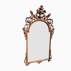 Antique Italian Carved Wood & Gesso Shaped Mirror