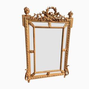 Specchio antico dorato in legno intagliato, Francia