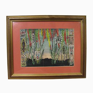 Gouache Painting by Wolfgang Burman, 1960s