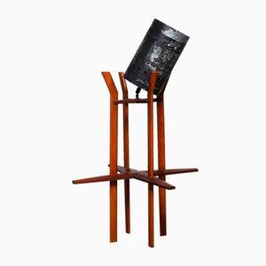 Lámpara de mesa francesa de madera y metal de Jean Royère, años 50