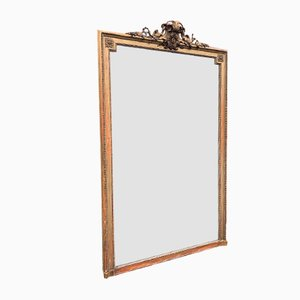 Antique French Carved Wood & Gesso Gilt Mirror