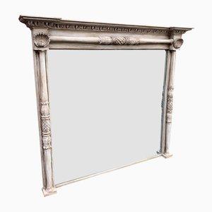 Antiker französischer Spiegel mit Rahmen aus geschnitztem Holz & vergoldetem Gips