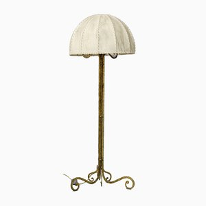Mid-Century Brass and Parchment Floor Lamp by Marc du Plantier