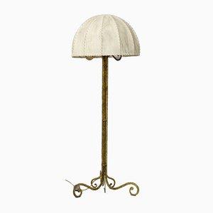 Mid-Century Stehlampe aus Messing & Pergament von Marc du Plantier