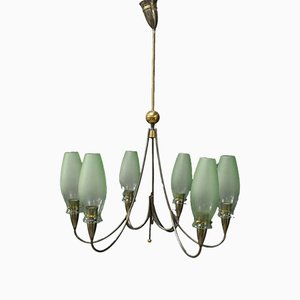Italian Nickel-Plated Brass and Murano Glass Chandelier, 1950s