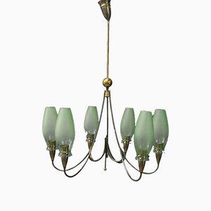Lámpara de araña italiana de latón niquelado y cristal de Murano, años 50