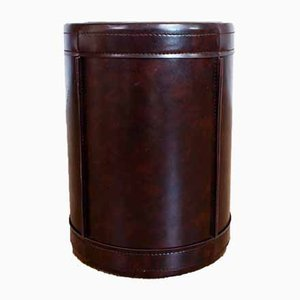 Leather Wastebasket, 1950s