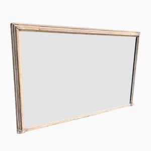 Espejo francés antiguo pintado de madera tallada y gesso