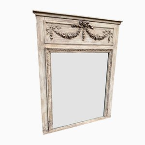 Antique French Carved Wood & Gesso Painted Mirror
