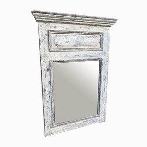 Antiker französischer Spiegel mit Rahmen aus geschnitztem & lackiertem Holz