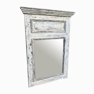 Antique French Carved Wood & Distressed Painted Mirror