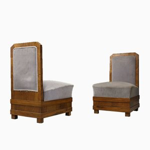 Antique Velvet and Walnut Lounge Chairs by Alfio Fallica, Set of 2