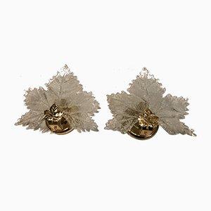 Apliques en forma de hoja de cristal de Murano, años 60. Juego de 2