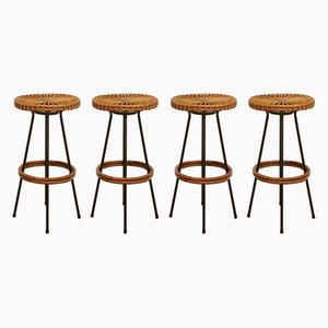 Round Rattan Bar Stools from Rohé Noordwolde, 1960s, Set of 4