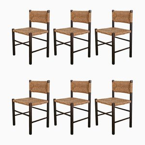Wood and Rush Dining Chairs, 1970s, Set of 6
