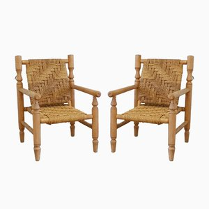 Vintage Wood and Rope Lounge Chairs, Set of 2