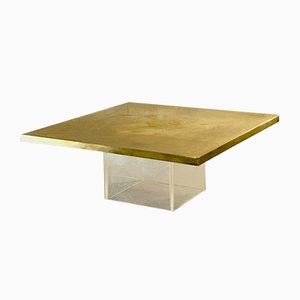 Vintage Belgian Plexiglas and Brass Coffee Table by Christian Heckscher
