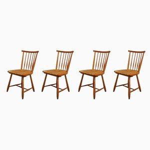 Spindle Back Rush-Seat Dining Chairs by Arno Lambrecht for WK Möbel, 1950s, Set of 4