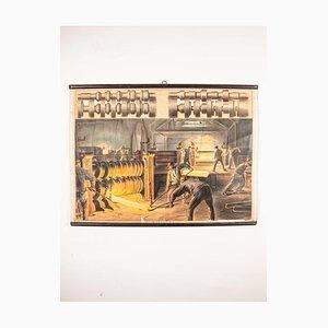 Póster educativo antiguo de fundición de acero checoslovaca