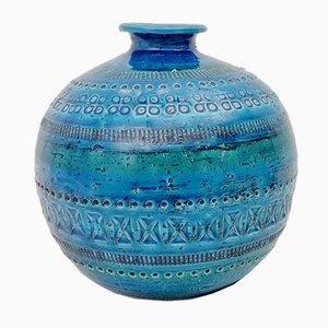 Jarrón de esfera Rimini en azul de cerámica de Aldo Londi para Flavia Montelupo, años 70