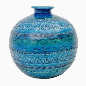 Rimini Blue Ceramic Sphere Vase by Aldo Londi for Flavia Montelupo, 1970s