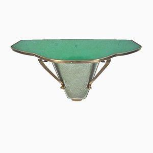 Italienisches Wandregal aus Messing & Buntglas, 1960er