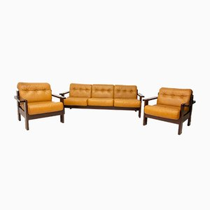 Leather Sofa and Two Armchairs Living Room Set, 1980s, Set of 3