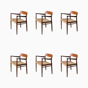Sedie da pranzo nr. 75 in teak di Niels Otto Møller per J.L. Møllers, anni '60, set di 6