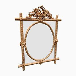 Miroir Ancien en Bois Sculpté et Dorure de Gesso, France
