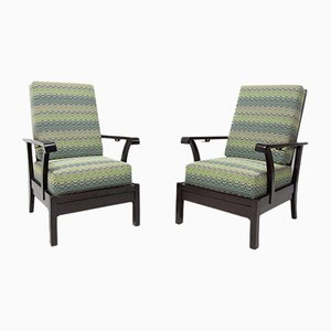 Oak and Beech Reclining Armchairs, 1930s, Set of 2