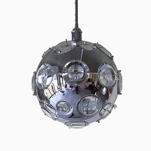 Lampe à Suspension Chromée par Oscar Torlasco pour Lumi, années 60