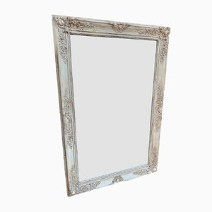 Antique French Carved Wood & Gesso Distressed Painted Mirror